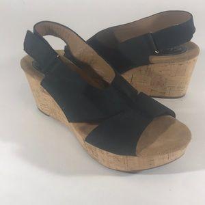 Clarks artesan wedge sandals black suede size 9